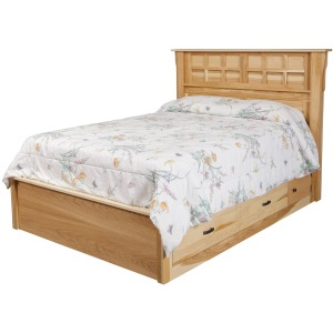 "Arts & Crafts Queen Pedestal Bed w/ 60"" Wide Drawers"