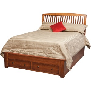 Holmes Queen Pedestal Bed w/2-Drawers in Footboard
