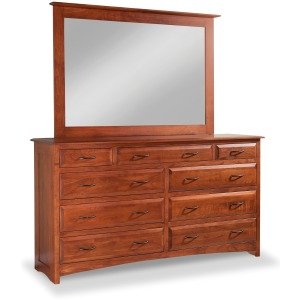 Simplicity 9-Drawer Double Dresser with Tall Wide Mirror