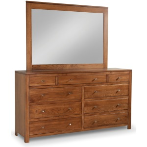 Modern 9-Drawer Double Dresser with Tall  Wide Mirror