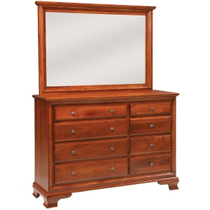 Classic 8-Drawer Triple Dresser w/ Tall Wide Mirror