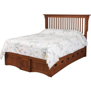 Mission Queen Pedestal Bed w/ 6 Drawers (3 each side)