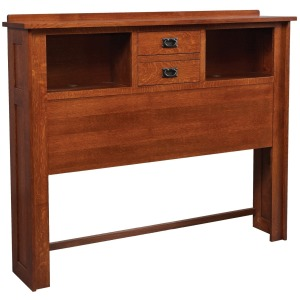 Mission King 2-Drawer Bookcase Headboard