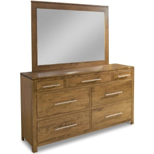 Modern 7-Drawer Double Dresser with Tall Wide Mirror