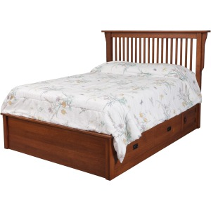 "Mission Queen Pedestal Bed w/ 60"" Wide Drawers"