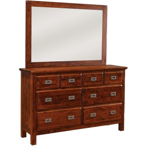 Lewiston 8-Drawer Double Dresser w/ Tall Wide Mirror