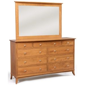 Holmes 9-Drawer Double Dresser w/ Tall Wide Mirror