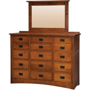Mission 15-Drawer Triple Dresser with Low Medium Mirror