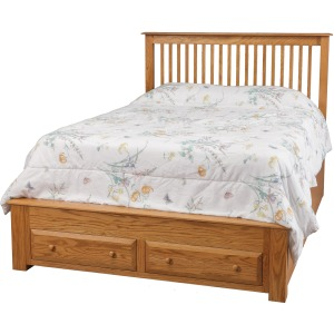 Simplicity Queen Pedestal Bed w/ 2 Drawers on End