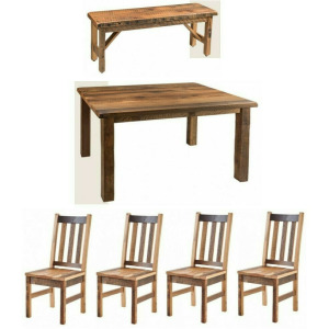 6 PC Reclaimed Barnwood Dining Set