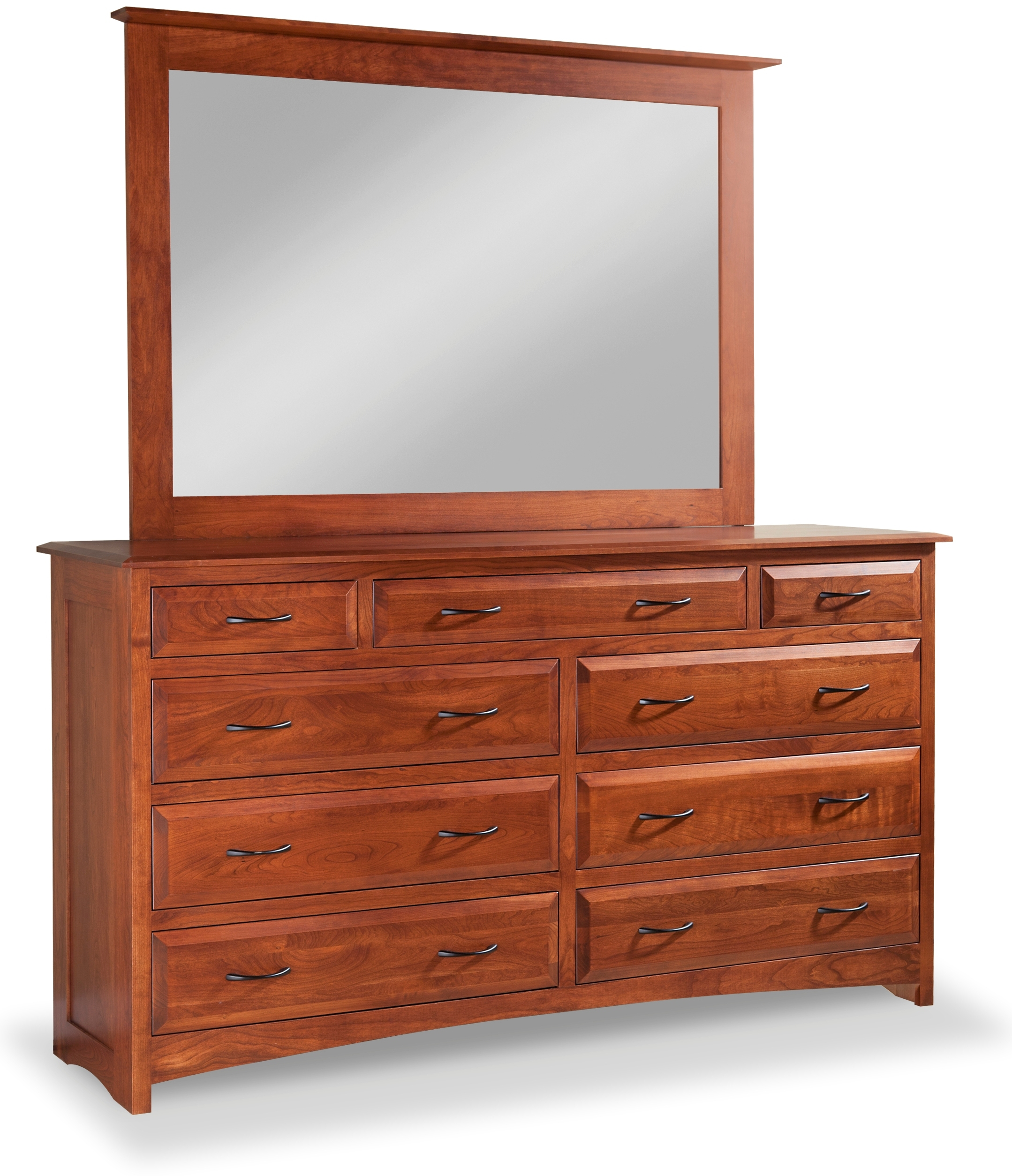 Simplicity 9 Drawer Double Dresser With Tall Wide Mirror By Daniel S Amish Collection 35 3359 Willis Furniture Mattress