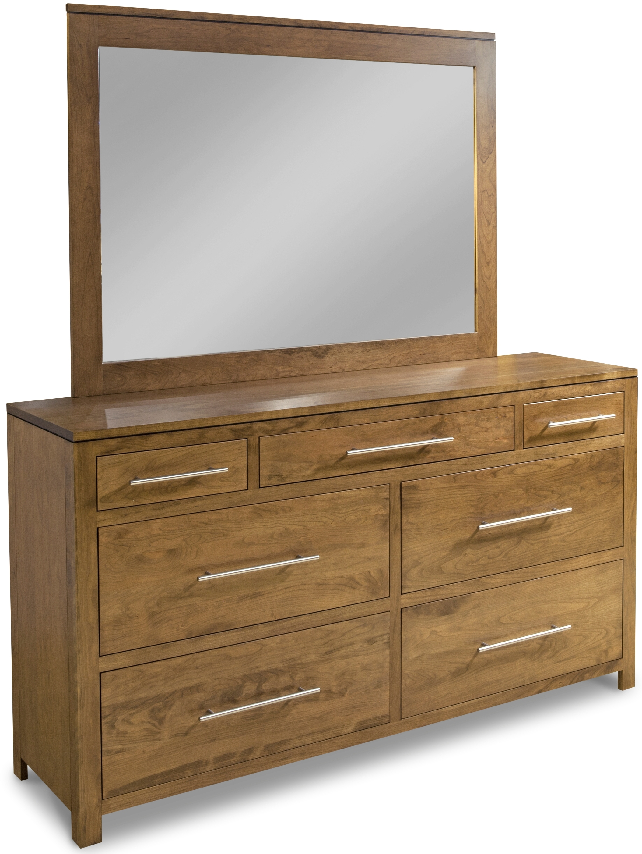 Modern 7 Drawer Double Dresser With Tall Wide Mirror By Daniel S Amish Collection 35 3657 39 3621 Willis Furniture Mattress