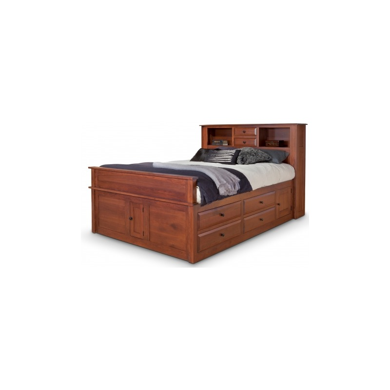 Simplicity Queen Captain S Bed W Bookcase Headboard And Low Footboard Piece By Daniel S Amish Collection 32 3313 Pierce Furniture Mattress