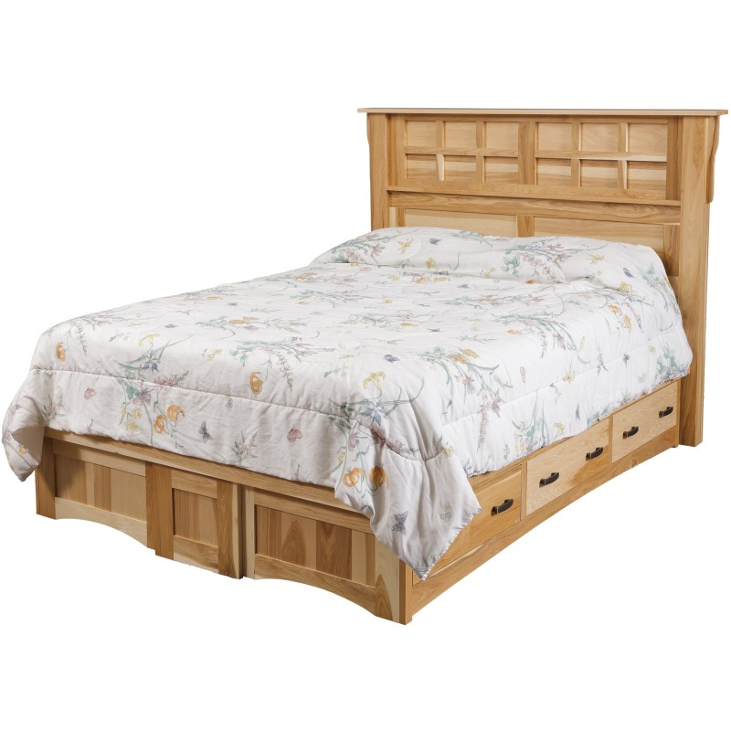 Arts & Crafts Queen Pedestal Bed w/ 6 Drawers (3 each side ...