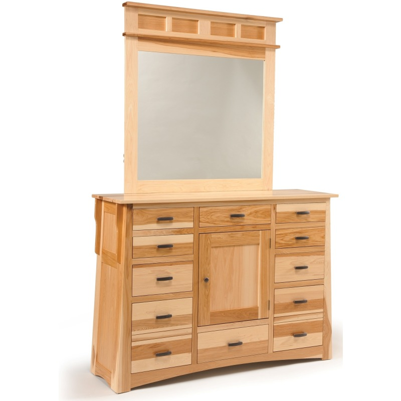 Arts & Crafts 12-Drawer 1-Door Triple Dresser with Tall Medium Mirror