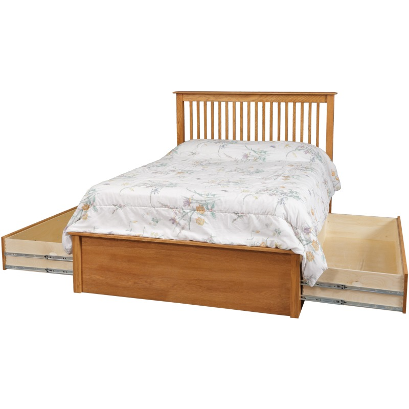 "Simplicity Queen Pedestal Bed w/ 60"" Wide Drawers"