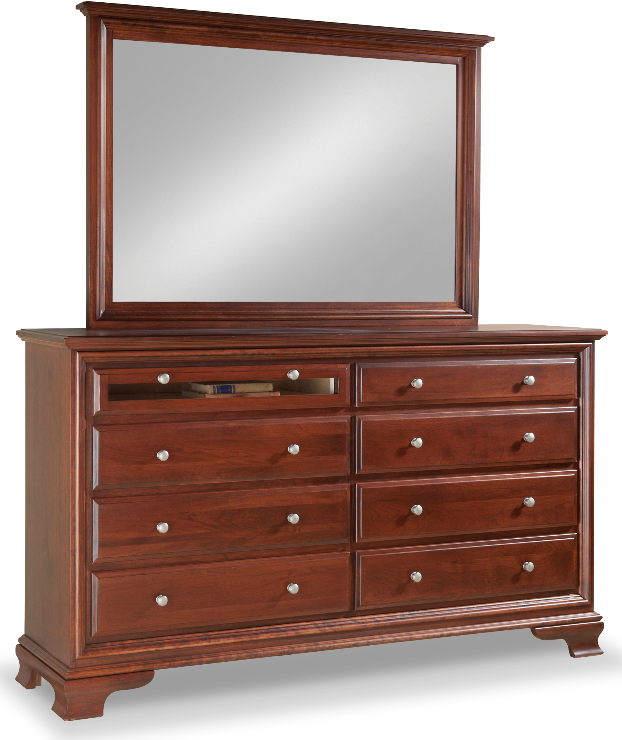 Classic 8 Drawer Double Dresser W Tall Wide Mirror Media Drawer By Daniel S Amish Collection 35 4038 39 4021 88 9377 Willis Furniture Mattress