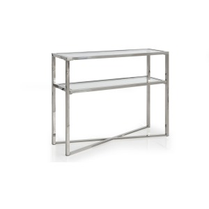 Cross Over Glass Top Small Console Table