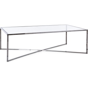 Cross Over Glass Top Coffee Table