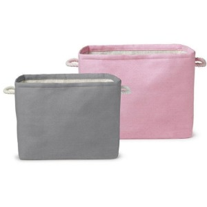 Rectangle Storage Fabric Bins – Pink/Grey Set of 2