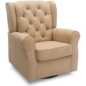 Emerson Nursery Glider Swivel Rocker Chair - Beige with Ecru