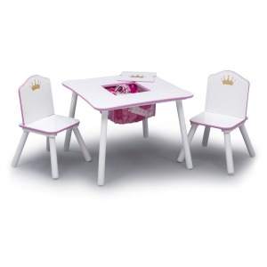 Princess Crown Kids Chair Set and Table, White/Pink