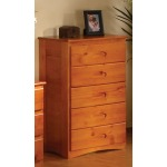 Honey 5 Drawer Chest
