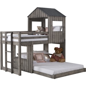 Twin/Full Campsite Loft Bunkbed - Rustic Dirty Grey