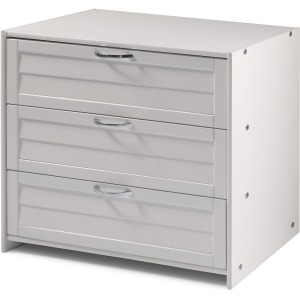 Louver Low Loft 3 Drawer Chest - White