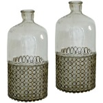 Glass Bottle / Vase - Set of 2