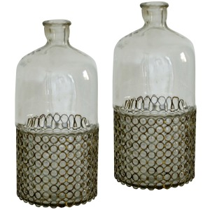 Glass Bottle / Vase - Set of 2