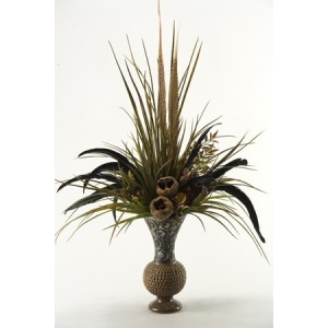 Mixed feathers and greenery in ceramic vase