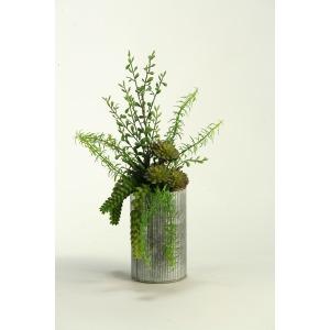 Aloe, Burro Tail, & Succulents in Metal Vase
