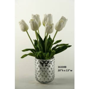 White Natural Touch Tulips In Silver Glass Vase