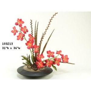 RUST VANDA ORCHIDS IN FLAT RESIN PLANTER