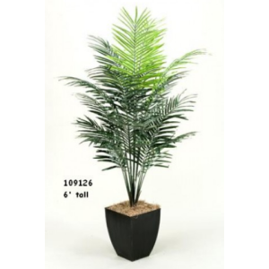 7' DWARF ARECA PALM TREE IN SQUARE METAL PLANTER