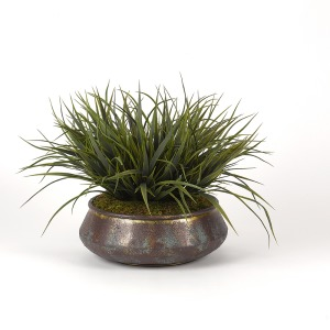 Green Wild Grass in Aged Copper Bowl