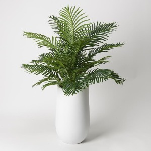 5' Hawaiian Palm Fronds in Round White Resin Planter