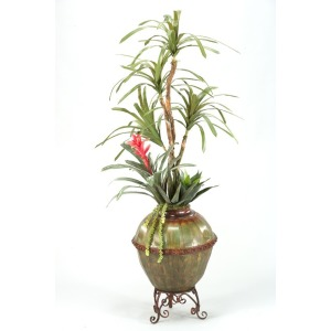 Dracaena tree w/bromeliad underplanting in metal kettle planter w/stand
