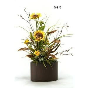SUNFLOWERS WITH MIXED GREENERY IN METAL OVAL PLANTER