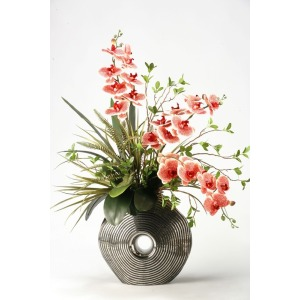 Red/cream vanda orchids in silver and black ceramic planter