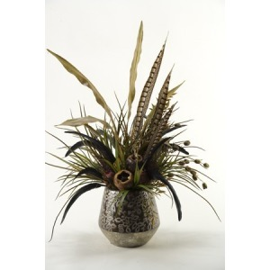 Mixed feathers and greenery in round ceramic planter
