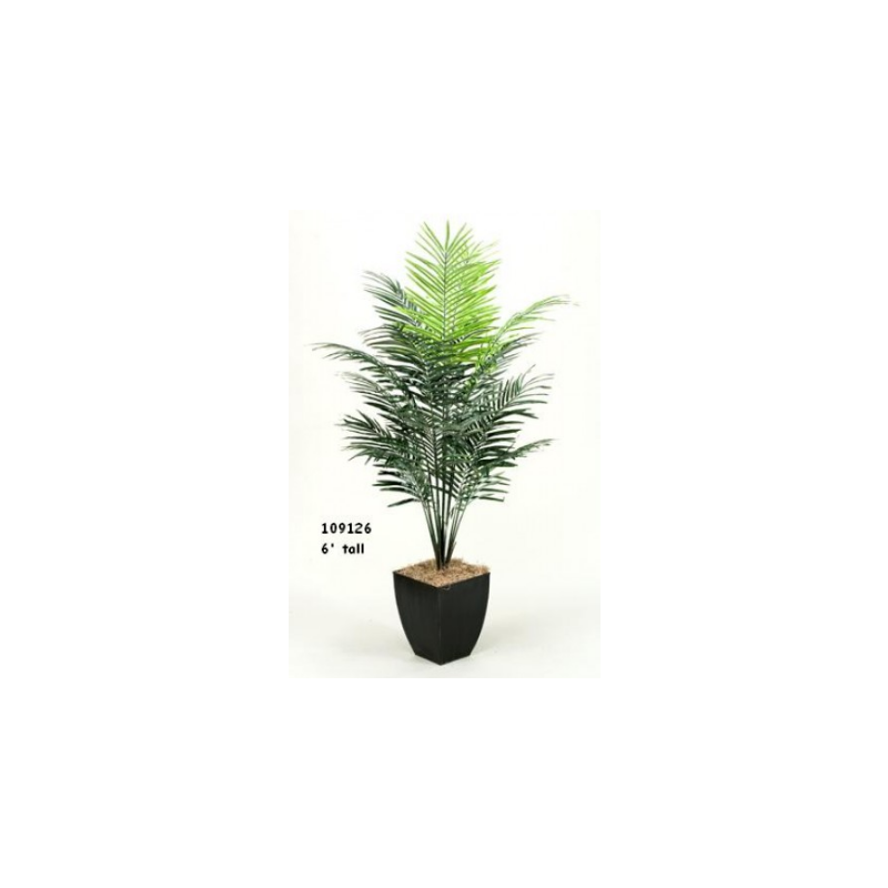 7' DWARF ARECA PALM TREE IN SQUARE METAL PLANTER