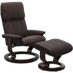 Admiral (L) Classic chair with footstool - Paloma Chocolate w/Brown