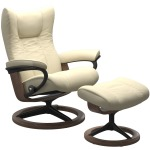 Wing Large Signature Chair w/Footstool - Paloma Vanilla