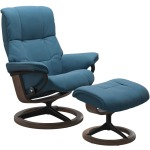 Mayfair (M) Signature chair with footstool - Paloma Crystal Blue & Walnut