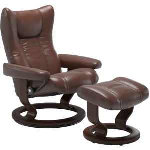 Wing Large Signature Chair w/Footstool - Pioneer Dark Brown