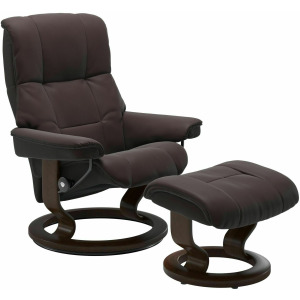Mayfair (S) Classic chair with footstool - Paloma Chocolate w/Brown