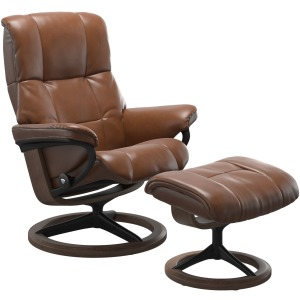 Mayfair (M) Signature chair with footstool - Pioneer Olive Brown & Walnut