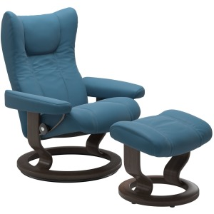 Wing (L) Classic Chair with Footstool - Paloma Crystal Blue & Wenge
